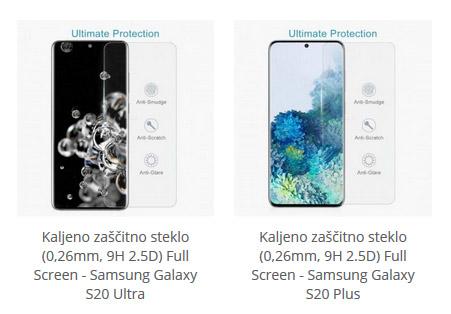 Kaljeno zaščitno steklo za Samsung S20